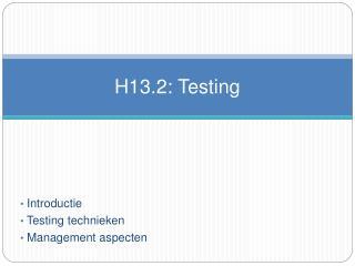 H13.2: Testing