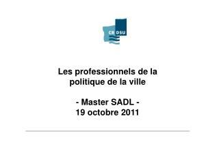 Les professionnels de la  politique de la ville - Master SADL - 19 octobre 2011