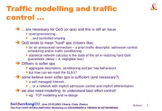 Traffic modelling and traffic control ...