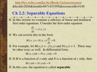 Ch 2.2: Separable Equations