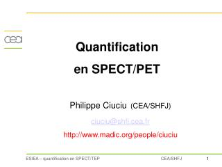 Quantification   en SPECT/PET