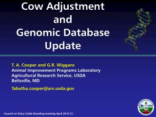 Cow Adjustment and Genomic Database Update