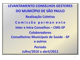 LEVANTAMENTO CONSELHOS GESTORES  DO MUNICÍPIO DE SÃO PAULO Realização Coletiva