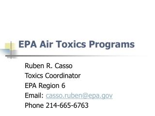 EPA Air Toxics Programs