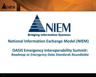 National Information Exchange Model NIEM  OASIS Emergency Interoperability Summit: Roadmap to Emergency Data Standards R