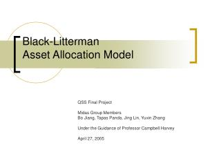 Black-Litterman  Asset Allocation Model