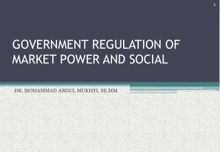 GOVERNMENT REGULATION OF MARKET POWER AND SOCIAL