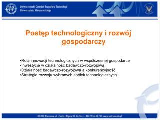 Postęp technologiczny i rozwój gospodarczy