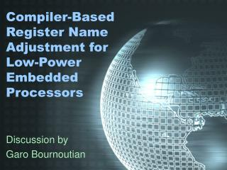 Compiler-Based Register Name  Adjustment for  Low-Power Embedded Processors