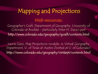 Mapping and Projections