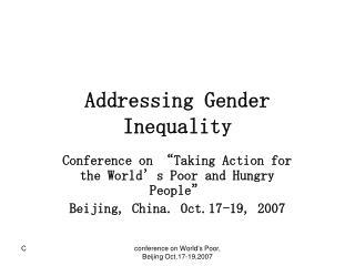 Addressing Gender Inequality