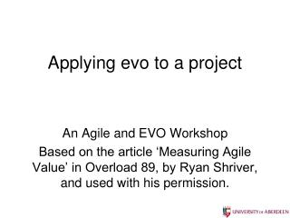 Applying evo to a project