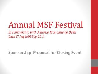Sponsorship  Proposal for Closing Event