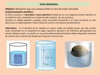 Objetivo:  Demostrar que una sustancia flota en otra de mayor densidad Fundamentación científica: