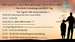 : :   Herzliche Einladung zum WGV-Tag  Ein Tag für alle Generationen  ::