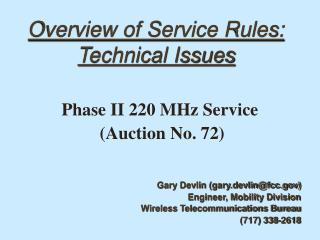Overview of Service Rules: Technical Issues