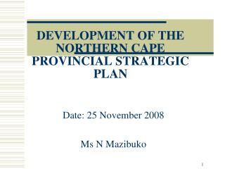 DEVELOPMENT OF THE NORTHERN CAPE PROVINCIAL STRATEGIC PLAN