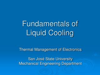 Fundamentals of  Liquid Cooling