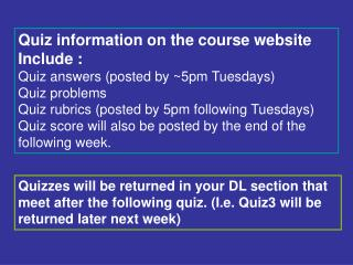 Quiz information on the course website  Include : Quiz answers (posted by ~5pm Tuesdays)