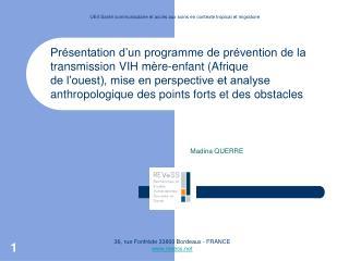 Présentation d'un programme de prévention de la transmission VIH mère-enfant (Afrique