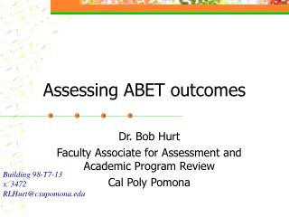 Assessing ABET outcomes
