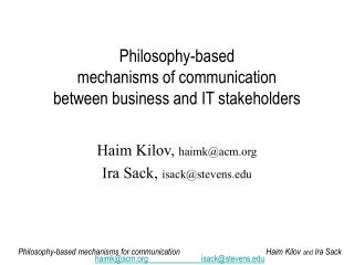 Philosophy-based  mechanisms of communication  between business and IT stakeholders