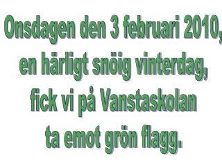 Onsdagen den 3 februari 2010, en härligt snöig vinterdag, fick vi på Vanstaskolan