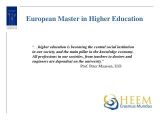 European Master in Higher Education