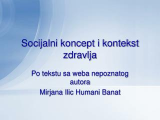 Socijalni koncept i kontekst zdravlja