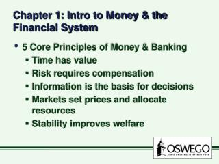 Chapter 1: Intro to Money  the Financial System