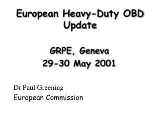 European Heavy-Duty OBD Update