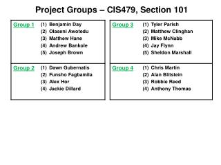 Project Groups 479 101