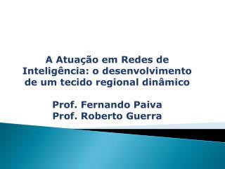 A Atuação em Redes de Inteligência: o desenvolvimento de um tecido regional dinâmico