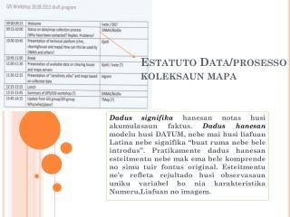 Estatuto  Data/ prosesso koleksaun mapa