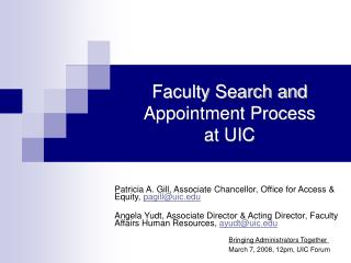 Faculty Search and Appointment Process at UIC