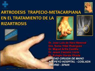 Dr. José Luis de Haro Monreal Dra. Sonia Vidal Rodríguez Dr. Miguel Arilla Castilla