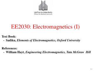 EE2030: Electromagnetics (I)