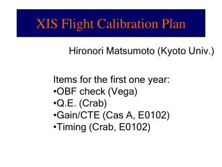 XIS Flight Calibration Plan