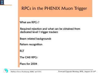 RPCs in the PHENIX Muon Trigger