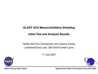 GLAST ACD Meteoroid/Debris Shielding Initial Test and Analysis Results