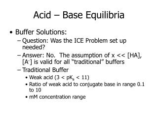 Acid – Base Equilibria