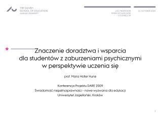 Znaczenie doradztwa i wsparcia  dla studentów z zaburzeniami psychicznymi