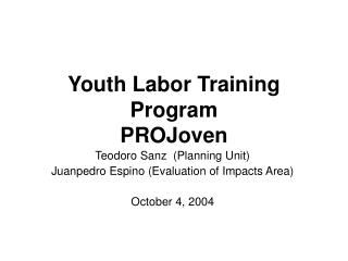 Youth Labor Training Program PROJoven