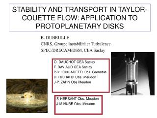 STABILITY AND TRANSPORT IN TAYLOR-COUETTE FLOW: APPLICATION TO PROTOPLANETARY DISKS
