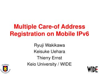 Multiple Care-of Address Registration on Mobile IPv6