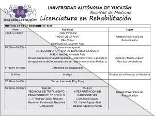 UNIVERSIDAD AUTÓNOMA DE YUCATÁN Facultad de Medicina Licenciatura en Rehabilitación