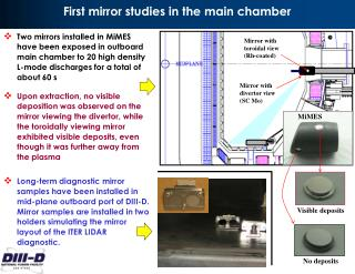 First mirror studies in the main chamber