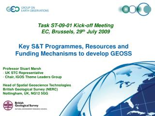 Key S&T Programmes, Resources and Funding Mechanisms to develop GEOSS