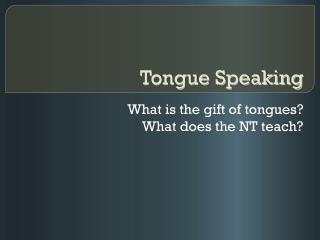 Tongue Speaking