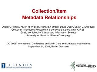 Collection/Item  Metadata Relationships